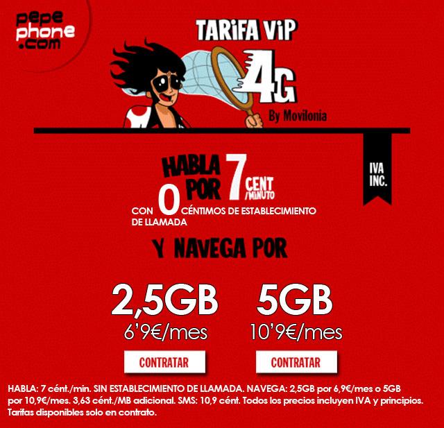 Tarifa Movilonia.com VIP 4G by Pepephone
