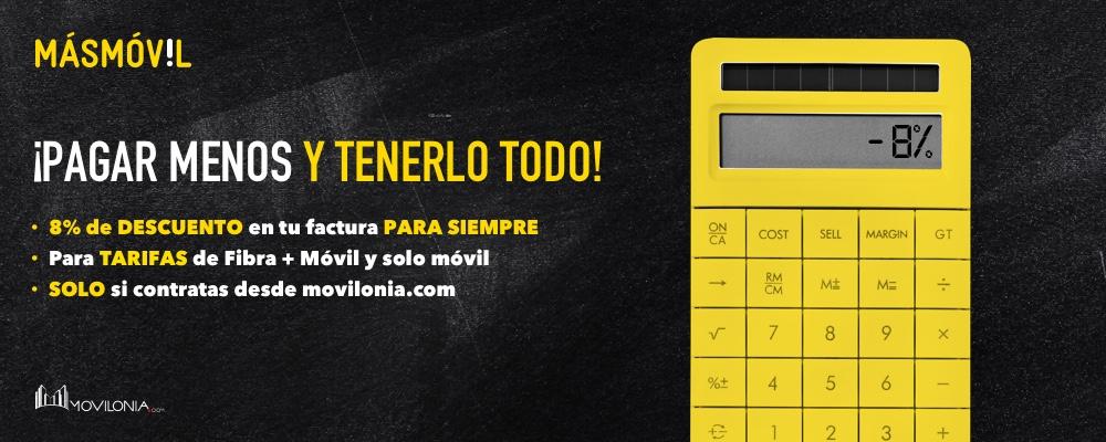 Descuento exclusivo del 8% en Masmóvil por contratar desde Movilonia.com
