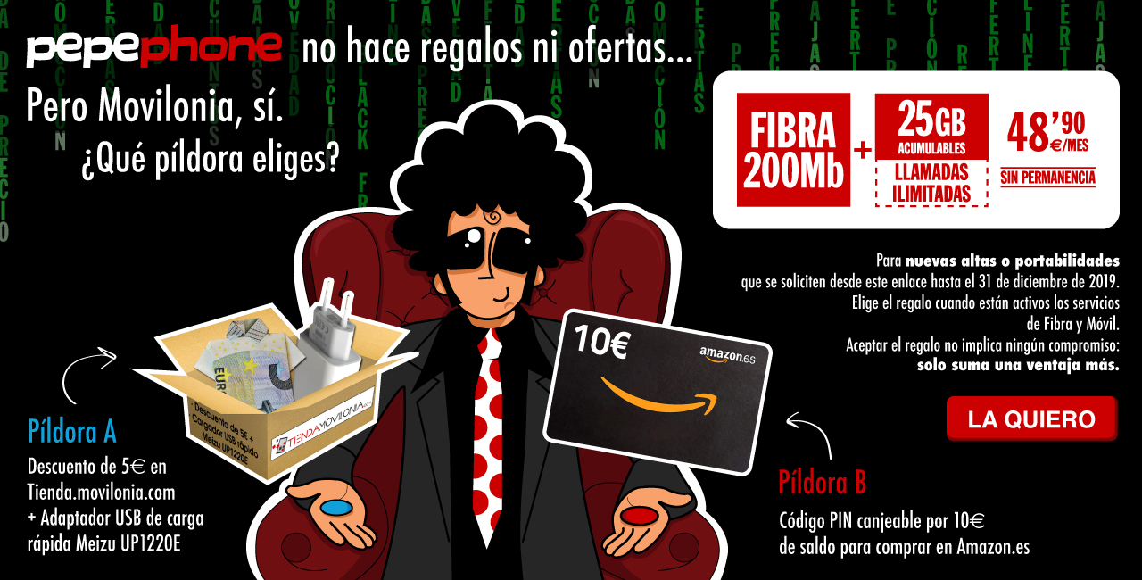 oferta de la tarifa Inimitable + fibra óptica de Pepephone con regalo de Movilonia.com