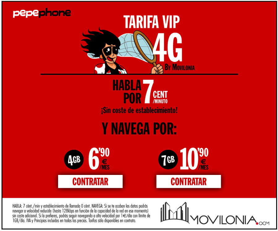 tarifa Movilonia VIP 4G by Pepephone