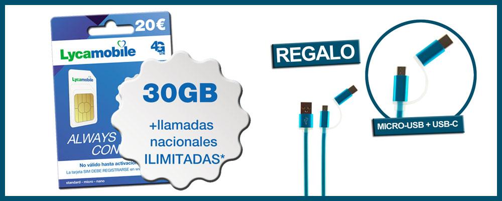 tarjeta SIM Lycamobile con llamadas ilimitadas + 30GB con regalo de cable micro-USB + USB-C