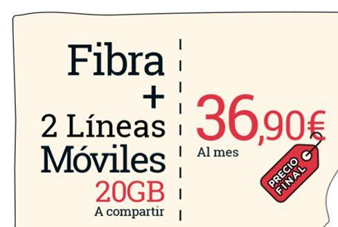 Fibra + móvil de Lowi + 25GB GRATIS