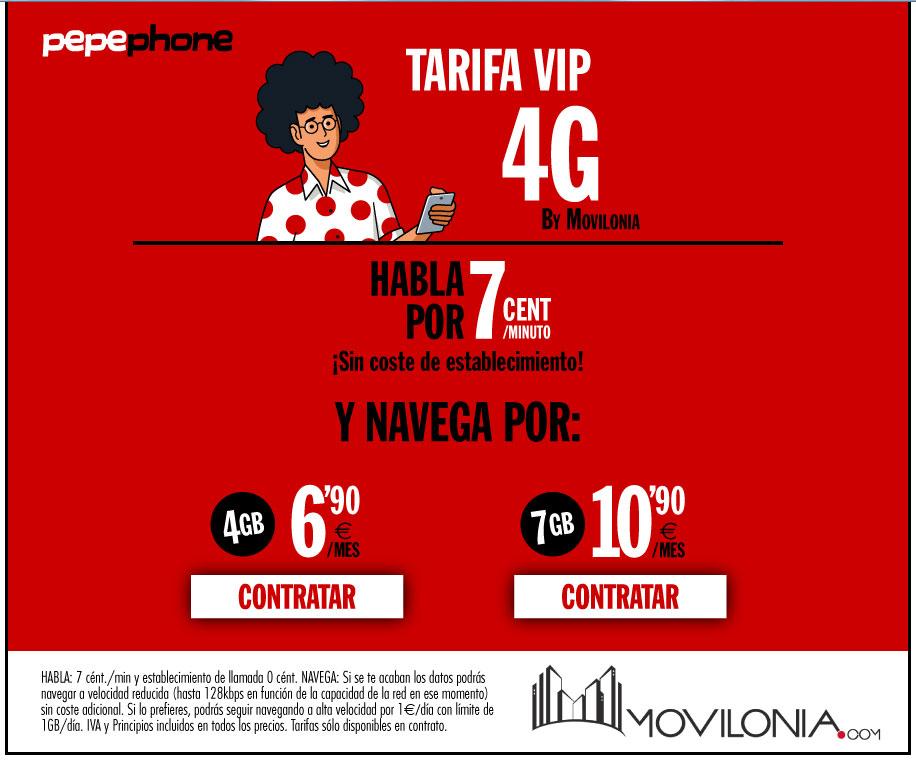 tarifa Movilonia VIP 4G by Pepephone
